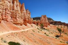 Fotvandra längs tornbroslingan i Bryce Canyon National Park Fotografering för Bildbyråer