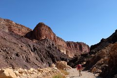 Fotvandra landskap i Eilat berg arkivfoton