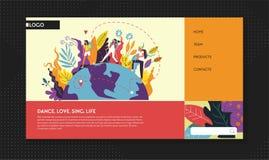 Fotvandra och campa resande- och turismwebbsidamall vektor illustrationer