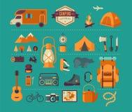 Fotvandra och campa utrustning - symbolsuppsättning och vektor illustrationer