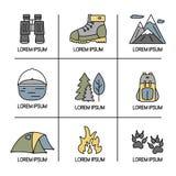 Fotvandra och loppsymboler med öppna banor vektor för set för tecknad filmhjärtor polar Fotografering för Bildbyråer