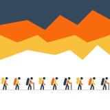 Fotvandra och spårninglag i bergen som går i linjen, nordiskt gå vektor illustrationer