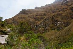 Fotvandra på den forntida Inca Trail stenlade banan till Machu Picchu peru Inga personer royaltyfria bilder