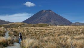 Fotvandra på den Tongariro nationalparken (Nya Zeeland) Royaltyfri Foto