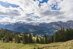 Fotvandra på monteringen Brunni på Engelberg i de schweiziska fjällängarna arkivbilder