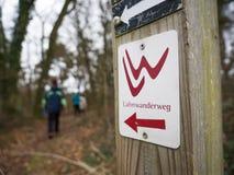 Fotvandra på slingan av Lahnwanderweg nära Runkel, Hessen, Tyskland Royaltyfri Fotografi