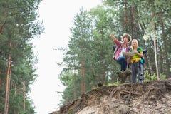 Fotvandra par med översikten som diskuterar över riktning i skog Royaltyfria Bilder