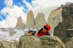 Fotvandra Patagonia Arkivfoto