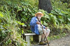 fotvandra pensionär Royaltyfri Bild