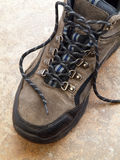fotvandra shoelace för kängacloseup Royaltyfria Foton