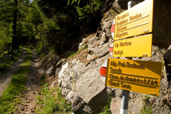 fotvandra signpostschweizare royaltyfri bild