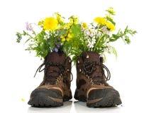 Fotvandra skor med blommor royaltyfria bilder