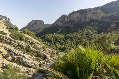 Fotvandra slingan Caminito del Rey Sikt av klyftan av Gaitanes i El Ch royaltyfria bilder