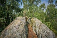 Fotvandra slingan på Teufelsmaueren i den Harz nationalparken Royaltyfri Foto