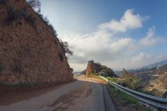 Fotvandra slingan till det Hollywood tecknet, en vandring på monteringslän, Hollywood, Kalifornien Arkivfoto