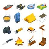 Fotvandra symbolsuppsättningen Campa utrustningvektorsamling Kikare bunke, grillfest, fartyg, lykta, skor, hatt, tält royaltyfri illustrationer