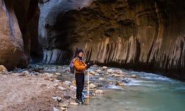 Fotvandra trånga passet i Zion NP Fotografering för Bildbyråer