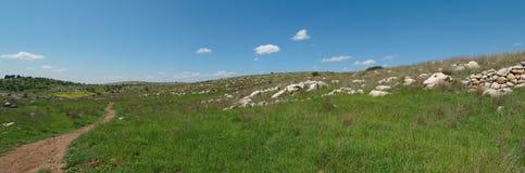 Fotvandra trail bland medelhavs- liggande   arkivfoton