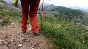 Fotvandra trekking i bergen Bakre sikt av baksidan av kvinnan som promenerar vägen med en ryggsäck lager videofilmer