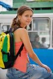 fotvandra trolley för buss Arkivbild