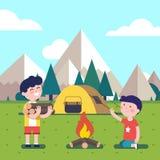 Fotvandra ungar på lägerelden vektor illustrationer