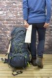 Fotvandra utrustning, ryggsäcken, kängor och ryggsäcken Royaltyfria Bilder