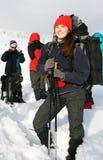 fotvandra vinter Arkivbilder