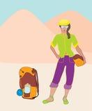 fotvandrare stock illustrationer