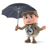fotvandrare för unge 3d med paraplyet Royaltyfri Bild