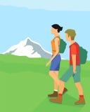 Fotvandrare i berg royaltyfri illustrationer
