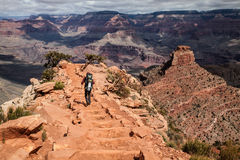 Fotvandrare i Grand Canyon, Arizona, USA Royaltyfri Bild
