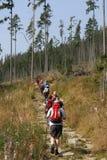 Fotvandrare i höga Tatras i Slovakien Arkivfoto