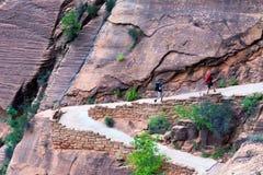 Fotvandrare i Zion National Park Royaltyfri Foto