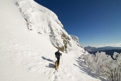 Fotvandrare med hans hund som går i ny snö på överkanten av monteringen Fotografering för Bildbyråer