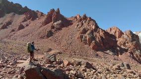 Fotvandrare med resor för en ryggsäck i höga berg stock video