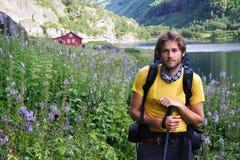 fotvandrare norway Fotografering för Bildbyråer
