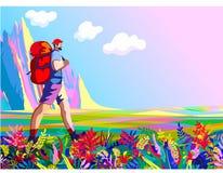 Fotvandrare och natur stock illustrationer