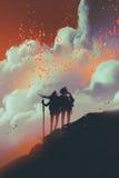 Fotvandrare på berget som ser lavaexplosioner royaltyfri illustrationer