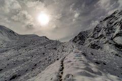Fotvandrare på den snöig bergsadeln i härligt solljus, Motatapu spår, Nya Zeeland arkivbilder