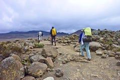 Fotvandrare på Mountet Kilimanjaro royaltyfria bilder