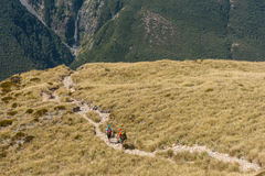 Fotvandrare på trek i Arthurs passerandenationalpark royaltyfri fotografi