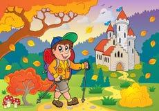 Fotvandrare som går på near slott för bana stock illustrationer
