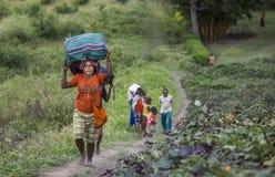 Fotvandrare som går till och med den Baliem dalen Royaltyfria Foton