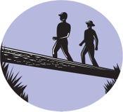 Fotvandrare som korsar enkel träsnitt för Oval för journalbro stock illustrationer