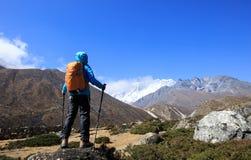 Fotvandrare som trekking på himalaya berg Royaltyfria Foton