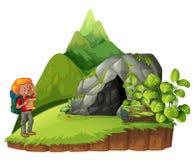 Fotvandrare som upp fotvandrar berget vektor illustrationer