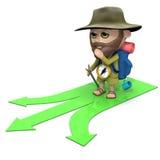 fotvandraren 3d måste göra ett beslut vektor illustrationer