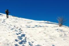 Fotvandraren klättrar till överkanten av berget Royaltyfri Bild