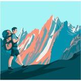Fotvandraren promenerar en bergbana royaltyfri illustrationer