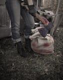 Fou avec la hache ensanglantée et le sac Photo libre de droits